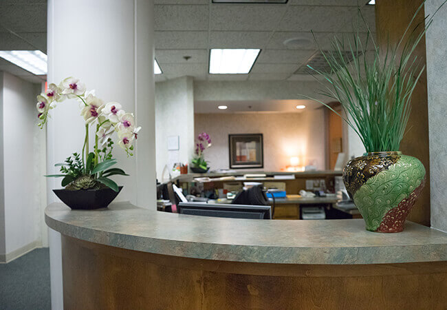 Welcoming dental office reception area
